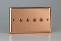 Varilight Polished Copper 4-Gang 10A 1- or 2-Way Toggle Switch (Twin Plate) - XYT9.CU